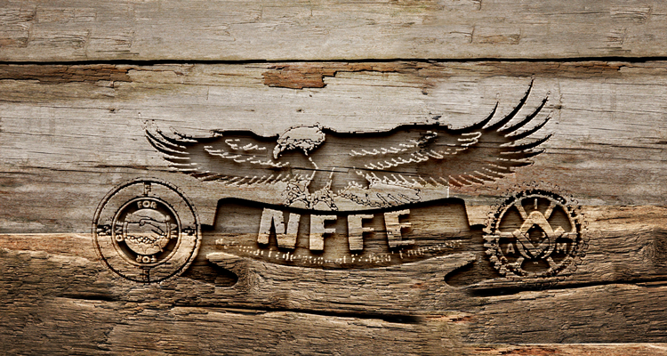 NFFE logo on wood
